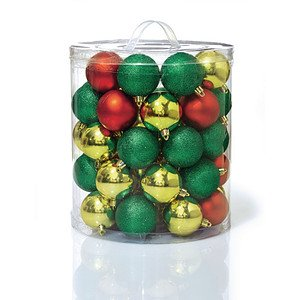 Weihnachtskugel-Set, 48 tlg. rot/gold/grün