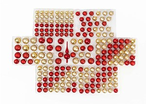 Weihnachtskugeln Set Rot/Gold, 217-teilig