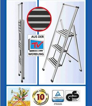 WENKO Alu-Design Klapptrittleiter 3-stufig,1 Stück