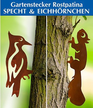 Zierstecker Rostpatina Eichhörnchen und Specht, 2er-Set