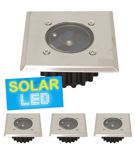 "4er-Set LED Solar Bodenstrahler ""eckig"",4er-Set"