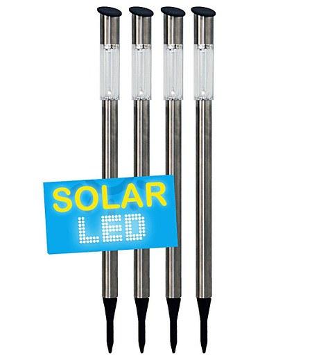 4er Set LED Solarlampen Edelstahl 70 cm,4er-Set