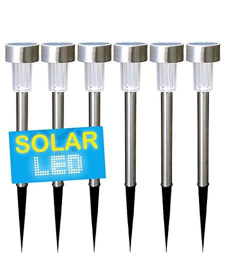 6er-Set LED Solarlampen Edelstahl 36 cm,6er-Set