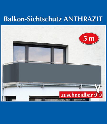 """Balkon-Sichtschutz """"Anthrazit Uni"""",5 Meter"""