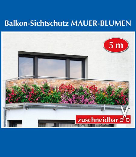 """Balkon-Sichtschutz """"Mauer-Blumen"""",5 Meter"""