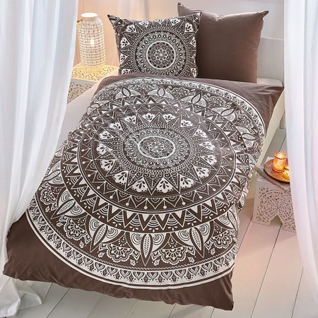 bettw sche mandala taupe wei g nstig online kaufen mein sch ner garten shop. Black Bedroom Furniture Sets. Home Design Ideas