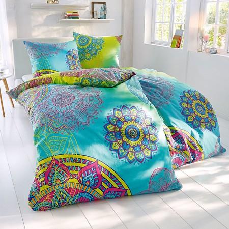 Bettwäsche Mystic Blau/Gelb 135 x 200 cm