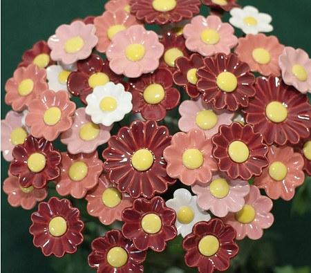 Blumenset 10 Keramikblumen Herbst