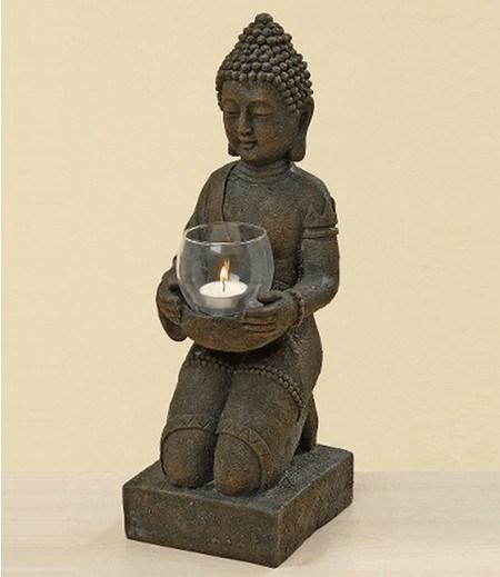 Boltze Kunstharz-Buddha mit Windlicht 44 cm hoch,1 St.