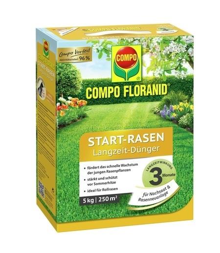 COMPO COMPO FLORANID® Start-Rasen Langzeit-Dünger 5 kg für 250 m²