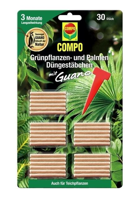 COMPO COMPO Grünpflanzen- und Palmen Düngestäbchen mit Guano (30 Stäbchen)