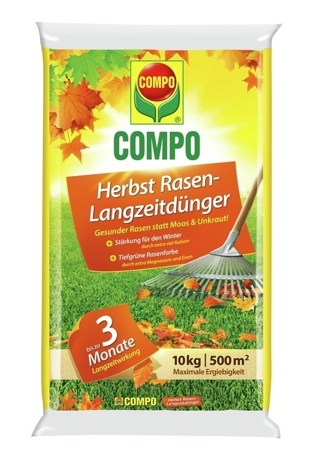 COMPO COMPO Herbst Rasen-Langzeitdünger 10 kg für 500 m²