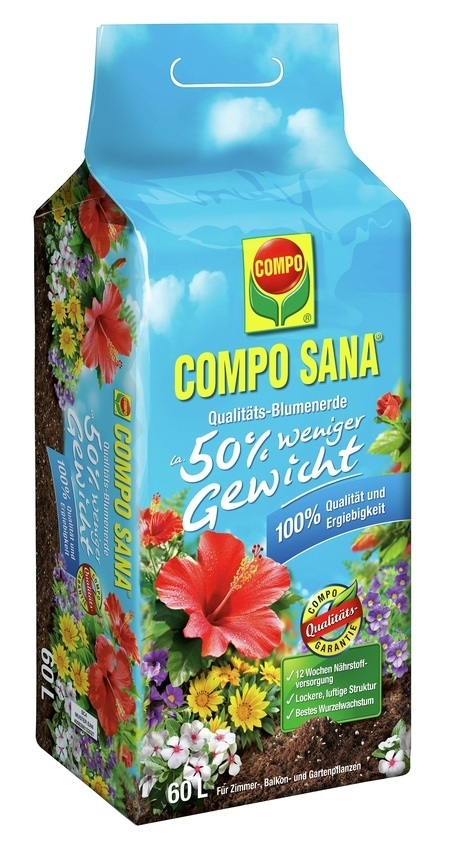 Compo COMPO SANA® Qualitäts- Blumenerde ca. 50% weniger Gewicht 60 L