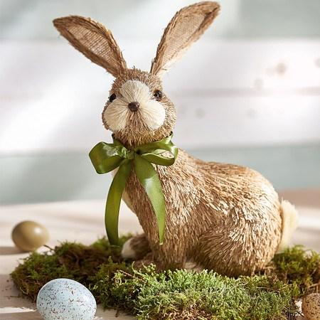 Deko-Figur Stroh-Hase Natur/Grün