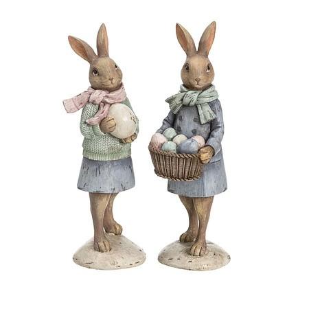 Deko-Figuren-Set, 2-tlg. Nostalgie Hasenpaar