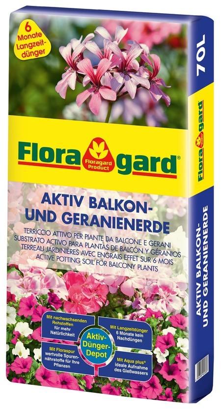 Floragard Aktiv Pflanzenerde für Balkon und Geranien 1 x 70L
