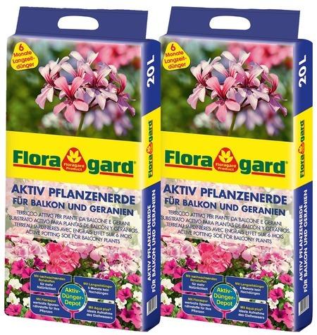Floragard Aktiv Pflanzenerde für Balkon und Geranien, 20L, 2 x 20L