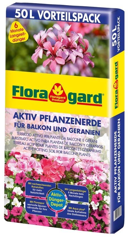 Floragard Aktiv Pflanzenerde Vorteilspack für Balkon u. Geranie, 50L