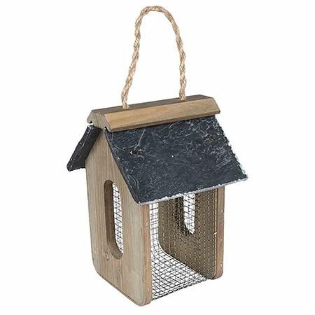 GARDMAN Holz-Erdnussfuttersäule für Vögel Schieferdach