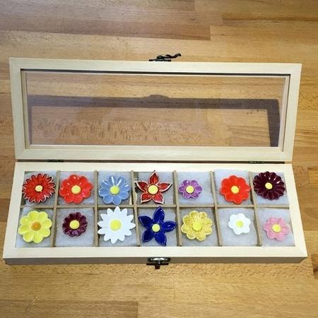 Geschenkset Keramikblumen Herbst, 14 Stück
