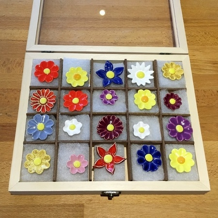 Geschenkset Keramikblumen Herbst, 20 Stück