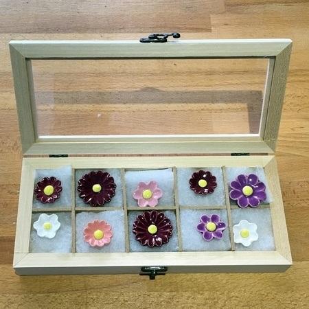 Geschenkset Keramikblumen Sommer , 10 Stück