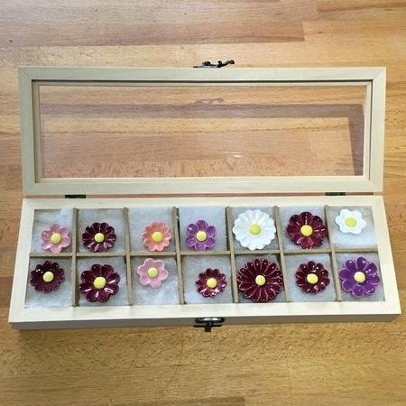 Geschenkset Keramikblumen Sommer, 14 Stück