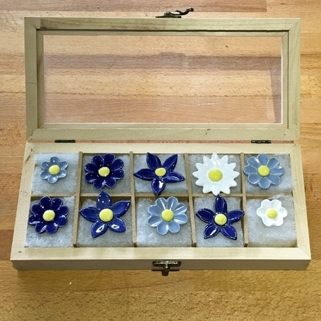Geschenkset Keramikblumen Winter, 10 Stück