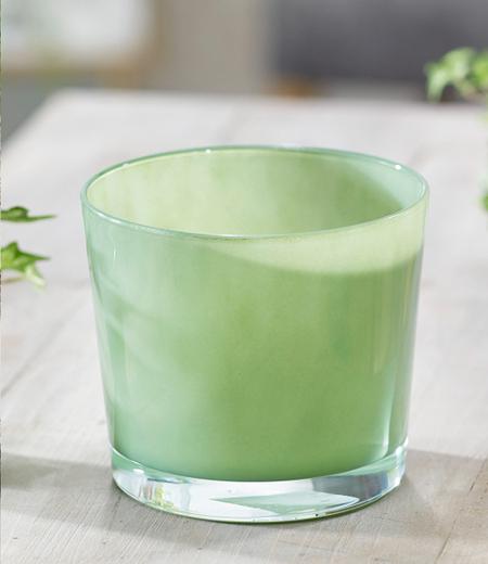 "Glas-Übertopf ø 14 cm ""Indian Green"",1 Stück"