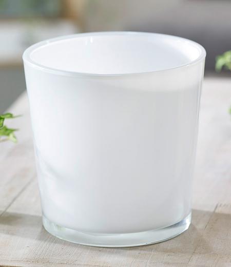 "Glas-Übertopf ø 19 cm ""weiß"", 1 Stück"