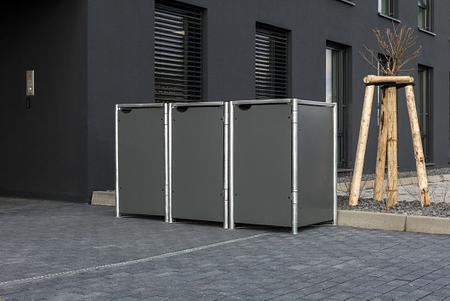 Hide Mülltonnenboxen Mülltonnenbox 140l Alu-Verbund3er Box, 181,4x 63,4x 115,2 cm (BxTxH)
