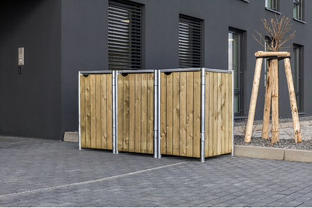 Hide Mülltonnenboxen Mülltonnenbox 140l Holz3er Box, 181,4x 63,4x 115,2 cm (BxTxH)