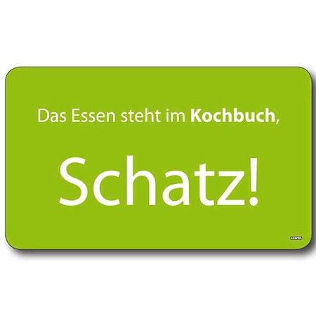 """KESPER Dekor-Schneidbrett """"Das Essen steht im Kochbuch, Schatz""""23,5 x 14 cm,"""