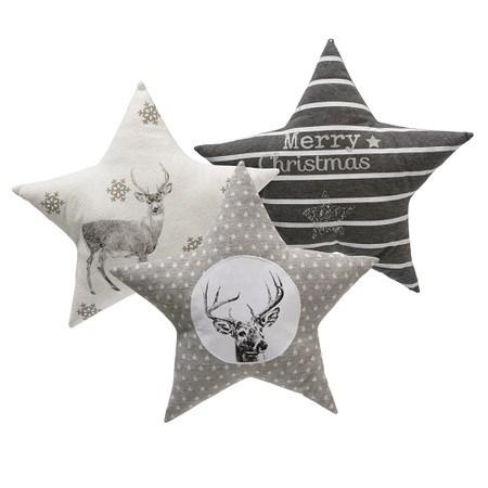 Kissen-Set, 3-tlg. Grey Stars