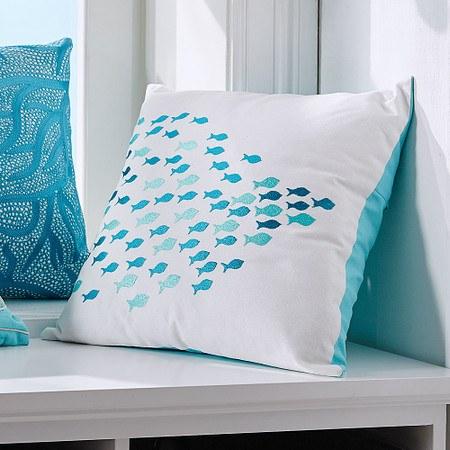 Kissenhülle Blue Fish Weiß/Blau