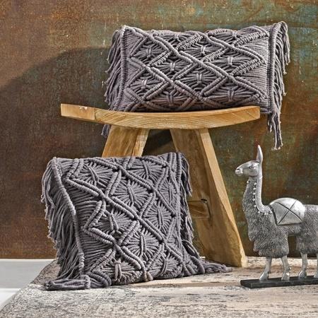 Kissenhülle mit Fransen Makramé Grau 30 x 50 cm