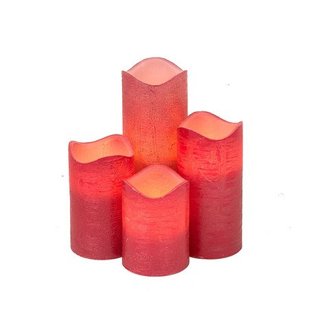 LED Kerzen, 4-tlg., rot