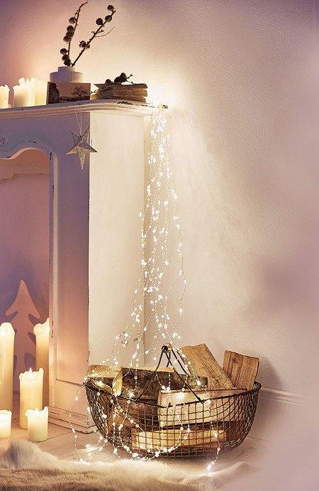 LED-Lichterregen Perlen Creme/Weiß