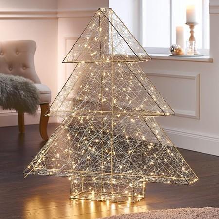 LED-Tannenbaum 3D-Modern Art Silberfarben
