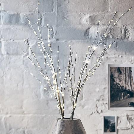LED-Zweig Birke Weiß