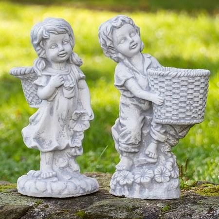 Mädchen & Junge mit Korb, 2er Set