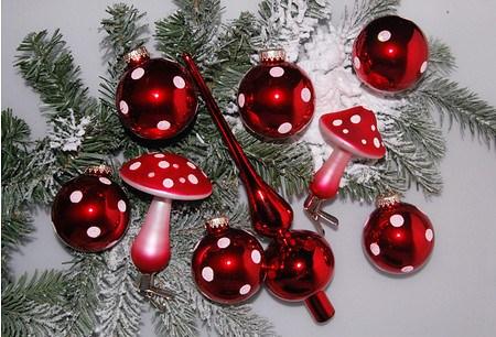 Mein schöner Garten Weihnachtskugeln Fliegenpilz-Set, 9-teilig