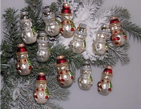 Mein schöner Garten Weihnachtskugeln Schneemänner, 12-teilig