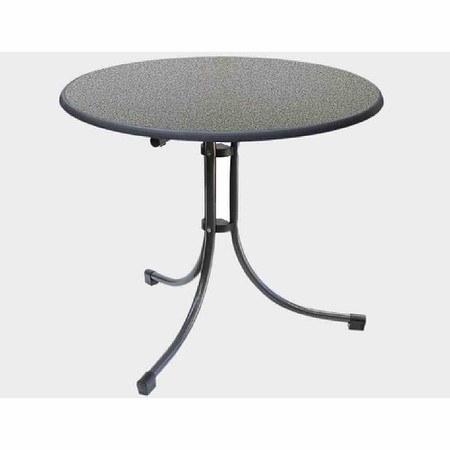 MFG Boulevard-Tisch Ø 85 cm, Sevelit-Tischplatte, weiß, Stahlrohrgestell,