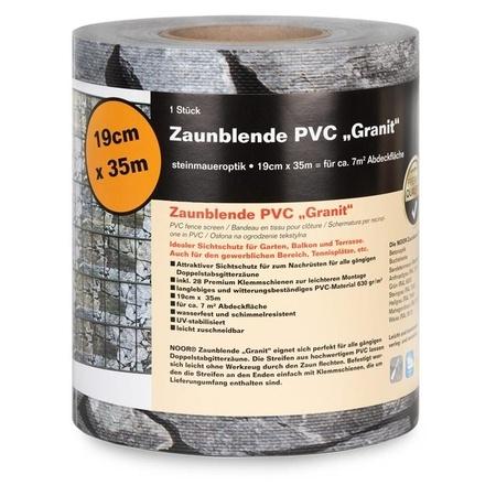 NOOR Sichtschutzstreifen Granit 19cm x 35m 630gr/m