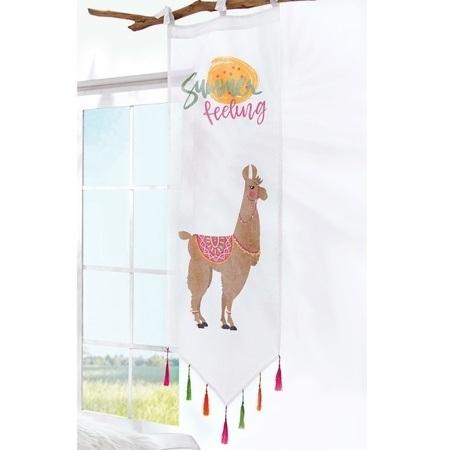 Organdy-Vorhang Lama Weiß/Bunt