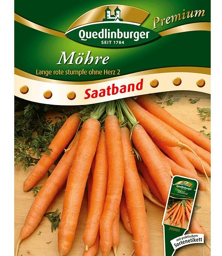 "Quedlinburger Möhre ""Lange, rote, stumpfe ohne Herz 2"" Saatband,6 Meter"