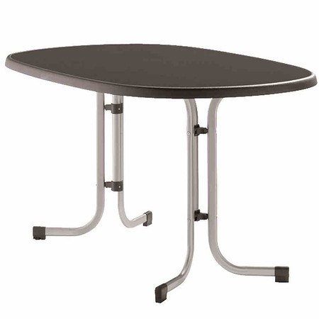 SIEGER Gartentisch 140x90x72 Cm, Graphit, Klappbar, Dekorplatte Oval