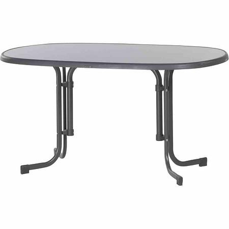 Schon SIEGER Gartentisch 140x90x72 Cm, Grau, Stahl Gestell, Mecalit Tischplatte