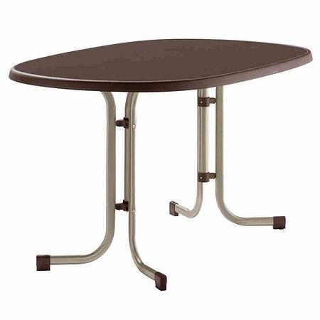 SIEGER Gartentisch 90x140x72 cm, champagner, klappbar, Dekorplatte oval
